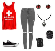 """""""Untitled #84"""" by americanpyscho ❤ liked on Polyvore featuring Topshop, Humör, Converse, Carolina Glamour Collection and Mia Bag"""