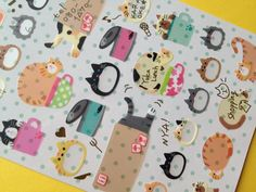 Cartoon cat filofax sticker cat planner seal by StickersKingdom