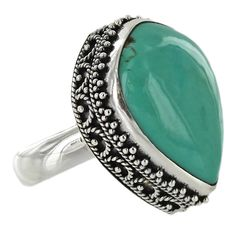 Sterling Silver Turquoise Fence Bezel Ring