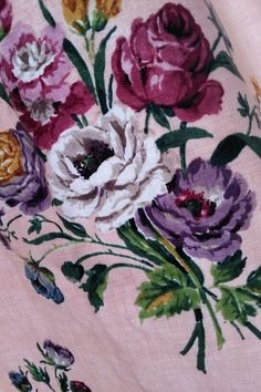 Pink roses vintage fabric