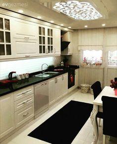 Beyaz mutfak, Halı, Mutfak, Perde, Siyah, Siyah-beyaz