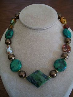 Chunky Serpentine Beaded Necklace Jewelry by by BrendasBeading, $18.95