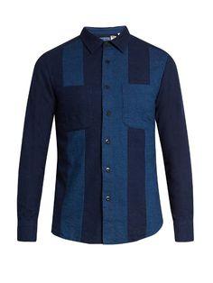 Blue Blue Japan Contrast-panel cotton-flannel shirt