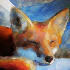 "Daily Paintworks - ""Sleepy fox"" - Original Fine Art for Sale - © Maria Z."