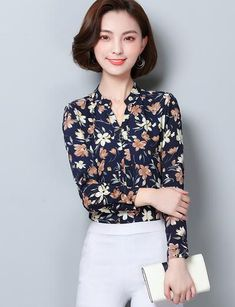 b8be59deded 2019 Fashion Blouse Women Shirt Long Sleeve Chiffon Floral Print Office Shirt  Ladies Top Female Clothing Blusas Plus Size 3XL H2