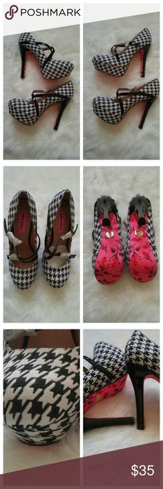 "Betsey Johnson Houndstooth 5"" Pumps NWT 9 Betsey Johnson Houndstooth 5"" heel Pumps Size 9 NWT. Buckles still wraped in protective tissue paper, shoes never worn. Shoes may have minor wear from storing since I don't have box. Item comes from smoke free home. Betsey Johnson Shoes Heels"