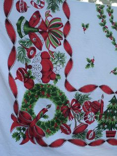 Vintage Christmas Tablecloth by MonkeyGrassDesigns on Etsy, $25.00 ...