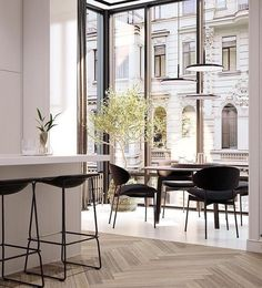 Sophisticated interior design is possible to reach by a black room decor! Create your luxury dining room with our inspirations at Luxury Dining Room, Dining Room Design, Interior Design Kitchen, Modern Interior Design, Interior Architecture, Dining Nook, Dining Tables, Table Bench, Black Round Dining Table