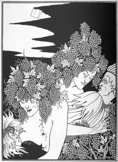 Aubrey Beardsley - A Snare of Vintage (published and suppressed versions). From Juvenal's VI Satire & Lucian's True History series of illustrations. Art Nouveau, Japanese Woodcut, Aubrey Beardsley, Drawing Studies, Post Impressionism, Design Graphique, Ex Libris, Gravure, Great Artists