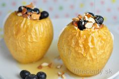 Praženica s jogurtom a ovocím Dessert, Baked Potato, Stevia, Diet Recipes, Snacks, Baking, Fruit, Ethnic Recipes, Bread Making