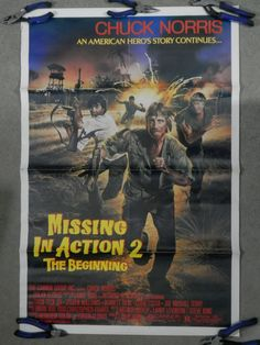 Vintage Missing in Action 2 Original Movie Poster 1985 MIA Chuck Norris ROLLED Adventure Martial Arts War Thriller Red Yellow Text by WesternKyRustic on Etsy