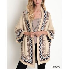 """""""Exile"""" Tribal Trim Kimono Sweater Cardigan Tribal trim knitted kimono cardigan in tan. Only color available. Brand new. True to size. NO TRADES. Bare Anthology Sweaters Cardigans"""