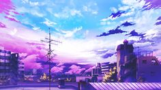 Anime picture with original gom jabbar wide image sky cloud (clouds) city landscape cityscape plant (plants) tree (trees) house roof antenna tagme Aesthetic Desktop Wallpaper, City Wallpaper, Anime Scenery Wallpaper, Computer Wallpaper, Aesthetic Backgrounds, Wallpaper Pc Anime, Beach Wallpaper, Scenery Background, Landscape Background