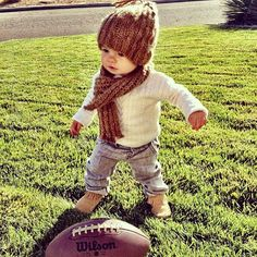 #football #baby #fashion #winter Donovan needs this. At least the hat and scarf.
