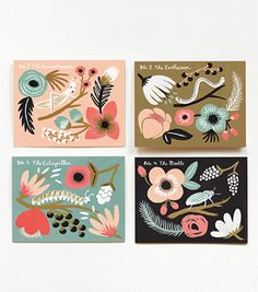 By Rifle Paper CO. - Nature and insect cards inspired by vintage botanical prints and a 1930's deco color palette of peach, vintage blue, gold, and charcoal.