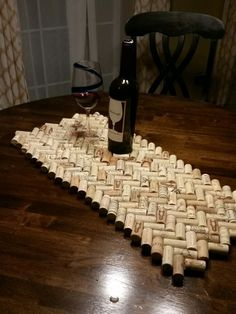 Wine cork table runner