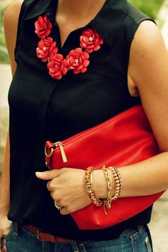 Spruce up the basics with accessories... red statement necklace & Purse
