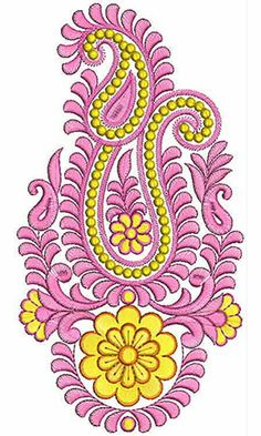 Machine Embroidery Applique, Silk Ribbon Embroidery, Embroidery Art, Embroidery Patterns, Border Embroidery Designs, Paisley, Quilling Patterns, Fabric Painting, Couture
