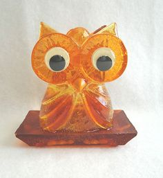 Vtg Mid Century Retro Lucite Owl Napkin Holder Amber Orange Glitter | eBay