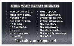 BUILD YOUR DREAM BUSINESS!!! If you could build your dream business, what more would you want to add than what is already listed here!  Note- A working knowledge of how a computer and Facebook works is needed unless you have help nearby.  Watch this video for more info: http://GReal.SBCMovie.com  or PM me if you preffer. Ready to get started?? http://GReal.WealthyAndTrim.com