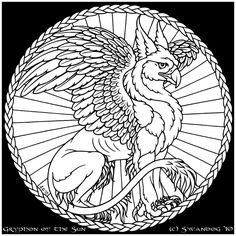 139 best ideas for mandalas tiles mosaics stained glass images Glass Tile Pencil Molding gryphon of the sun by swandog gryphon tattoo stained glass patterns mythical creatures
