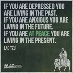The present is now so live it at peace. The past is past and can't be change and the future is unknown so why worry. Live day by day at peace.