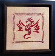 Phoenix Dragon - Cross Stitch Pattern by Enchanting Lair using Kreinik metallics.