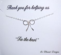 Bridesmaid Gifts Sterling Silver Bow necklace by SoBlessedDesigns, $32.00