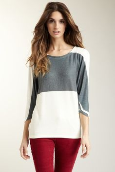 Black Color Block Dolman Tunic Sweater by Go Couture on @HauteLook