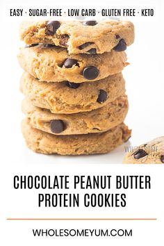 Low Carb Chocolate Chip Peanut Butter Protein Cookies Recipe - This easy ch. - (Breakfast and brunch) -Easy Low Carb Chocolate Chip Peanut Butter Protein Cookies Recipe - This easy ch. - (Breakfast and brunch) - Protein Chocolate Chip Cookies, Protein Powder Cookies, Protein Cookie Recipe, Peanut Butter Protein Cookies, Protein Powder Recipes, Keto Chocolate Chips, Whey Protein Recipes, Chocolate Syrup, Cake Chocolate