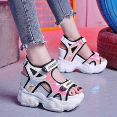 Peep-Toe Platform Heel Casual Sandals – Girly Giggles Source by shoes Sneakers Fashion, Fashion Shoes, Kawaii Shoes, Peep Toe Platform, Platform Shoes, Stylish Sandals, Super High Heels, Aesthetic Shoes, Hype Shoes