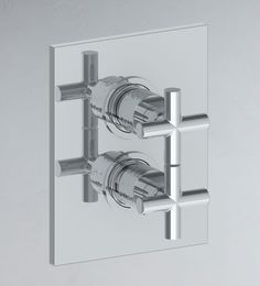 SEC52 - Wall mounted thermostatic shower valve with 2 way flow control. Crosshead handle.