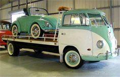 VW bus with mini beetle on the flatbed Volkswagen camper campervan kombi pickup bug