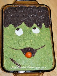 6 Layers of Frankenstein, Halloween Dinner, Halloween food, 7-layer dip (with only 6 layers)