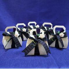 Platinum Pride Tartan Scottish Thistle and Rose Wedding Favours