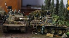 German Panther Medium Tank and Panther Ausf. Plastic Model Military Kit crossing paths. These are very detailed 1/35 Scale models. @ http://www.hobbylinc.com/cgi-bin/pic.cgi?t=pics_user_galleries&item_i=12306&pic_user_i=95257&pic_pic_i=9147