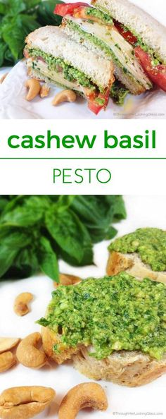 Easy Cashew Basil Pesto. Creamy pesto. Easy to make from my bumper basil crop. Tastes fabulous slathered on crusty bread, in a sandwich or tossed with pasta.