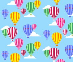Love Is In The Air - Hot Air Balloons fabric by lovelyjubbly on Spoonflower - custom fabric