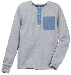 7 For All Mankind Long Sleeve Henley Shirt (Big Boys)