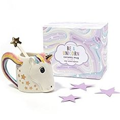 #afflink Amazon.com | Two's Company 42941 Be A Unicorn Mug with Metallic Star Stirrer in Gift Box, White: Coffee Cups & Mugs