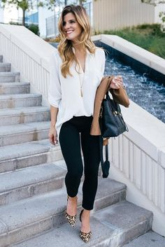 533c0ab9ce0 Look amazing in this black trouser and loose white blouse work outfit  combo. Casual Smart