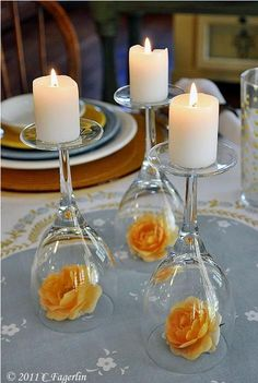 DIY Wedding Centerpieces - Upside Down Wine Glass Wedding Centerpiece - Do It Yo. [ DIY Wedding Centerpieces - Upside Down Wine Glass Wedding Centerpiece - Do It Yourself Ideas for Brides and Best Cente. Wine Glass Centerpieces, Simple Centerpieces, Centerpiece Flowers, Glass Votive, Centerpiece Wedding, Glass Candlesticks, Flower Arrangements, Centerpieces For Birthday Party, Graduation Centerpiece