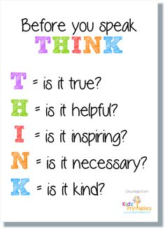 Before you speak THINK quote poster free download
