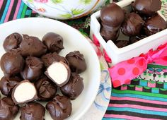 No Bake Vanilla Cake Batter Truffles--I just made these Gluten-Free and Nut-Free, oh, and covered in dark chocolate--Yum!!