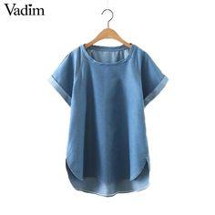 Women solid blue loose denim shirts short sleeve o neck irregular blouse blusas Femininas European style tops DT952  #style #fashion #cool #fashionista #stylish #beautiful #model #styles #dress #swag