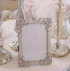 SHABBY TIARA RHINESTONES FRENCH CHIC GENUINE CRYSTALS PICTURE PHOTO FRAME❤ ❤ ❤