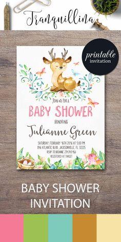 Printable Baby Shower Invitation, Baby deer Baby Shower Invitation, Woodland…