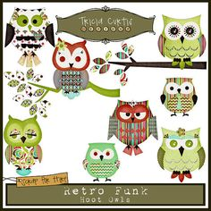 Hoot Owls - Retro Funk Paper Piecing Clipart Elements for Invitations, Card Design and Scrapbooking Owl Theme Classroom, Owl Pictures, Owl Crafts, Bird Theme, Art Clipart, Decoupage Paper, Paper Piecing, Baby Quilts, Cardmaking