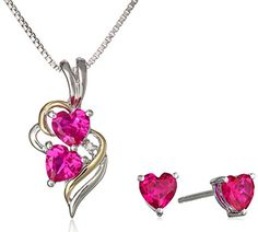 "XPY Sterling Silver and 14k Yellow Gold Created Ruby Heart with Diamond-Accent Pendant Necklace and Earrings Set, 18"" Amazon Curated Collection http://www.amazon.com/dp/B004GEB9MY/ref=cm_sw_r_pi_dp_mi2Gub196Q5RQ"