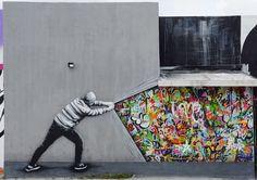 #Streetart: new wall by #MartinWhatson @ #Miami for #ArtBasel2015 #art #arte #graffiti